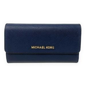 Michael Kors Jet Set Travel Trifold Wallet Navy